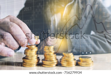 Businessman putting money coins. Business Growth concept.