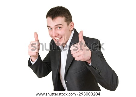 businessman raised thumbs up