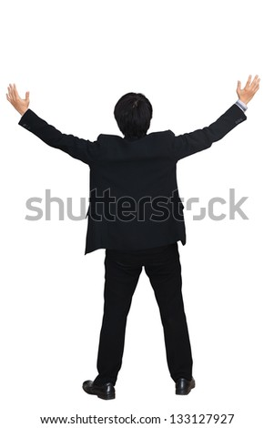 Businessman raising hand, Isolated over white with clipping path