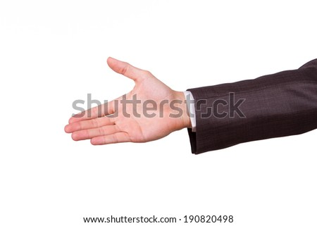 Businessman reaching hand for handshake, isolated on white background.