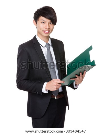 Businessman read on the clipboard