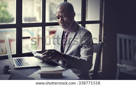 Businessman Reading Book Ideas Workplace Concept
