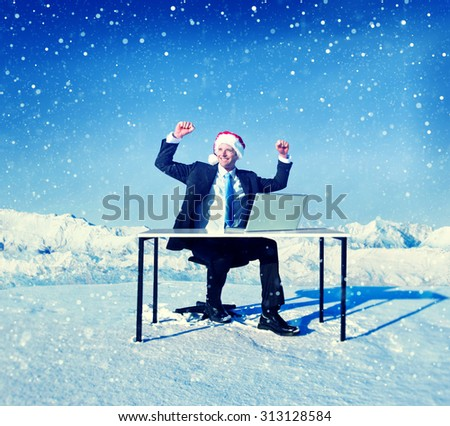 Businessman Ready for Christmas Cheerful Concept - stock photo