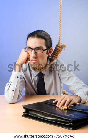 Businessman ready to commit suicide - stock photo
