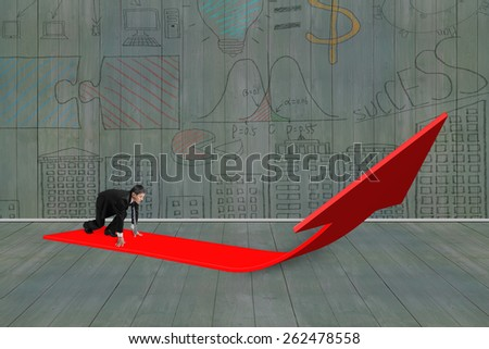 Businessman ready to run on red arrow up sign with business concept doodles wooden wall background - stock photo