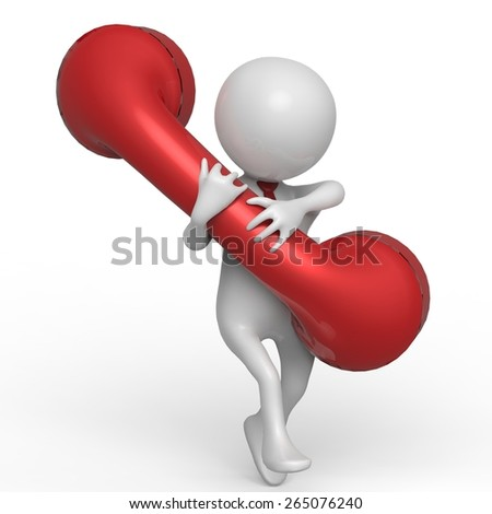 businessman red telephone - stock photo
