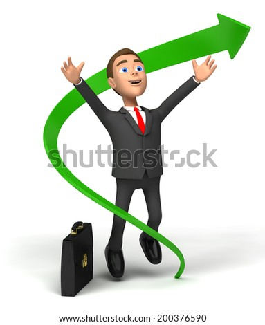 Businessman rejoices financial growth - stock photo