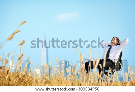 Businessman Relaxation Freedom Happiness Getaway Concept - stock photo