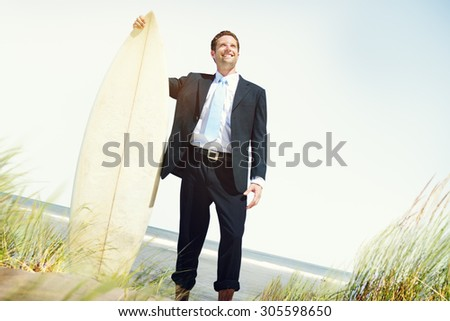 Businessman Relaxation Surfing Summer Beach Concept