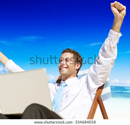 Businessman Relaxing Beach Inhaling Tropical Travel Concept - stock photo