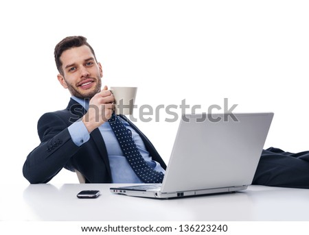 Businessman relaxing in break time - stock photo