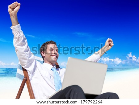 Businessman Relaxing on Paradise Beach - stock photo