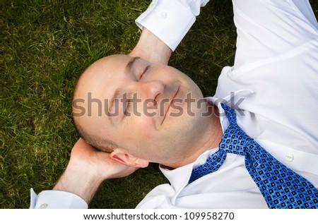 Businessman resting - stock photo