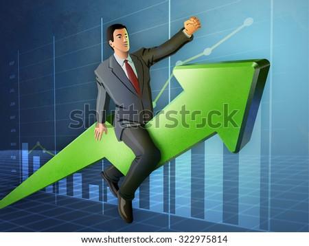 Businessman riding a rising graph arrow. Digital illustration. - stock photo