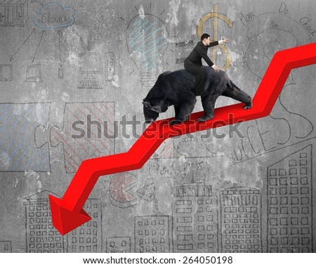 Businessman riding black bear on red arrow downward trend line with business doodles concrete wall background. Fight back bearish market concept. - stock photo