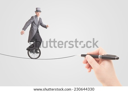 Businessman riding monocycle on a rope drawn by hand concept - stock photo