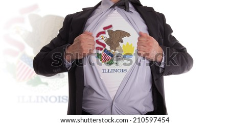 Businessman rips open his shirt to show his Illinois flag t-shirt - stock photo