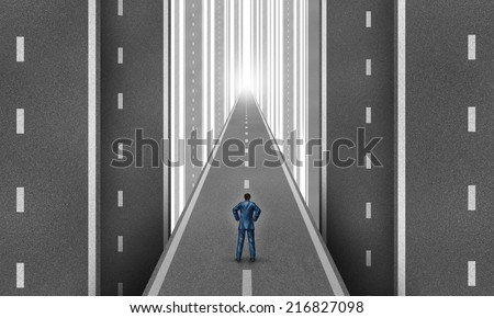 Businessman road concept as a group of vertical highways with a man standing on a straight path to success as a business metaphor for strategy and planning. - stock photo