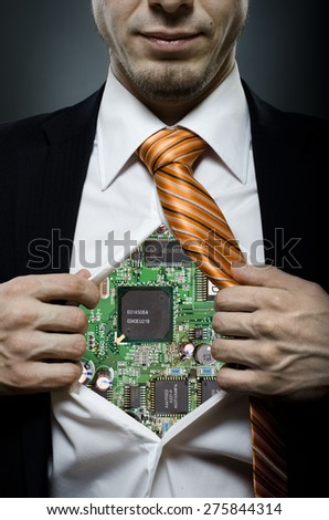 businessman robot  in black costume throw open one's shirt - stock photo