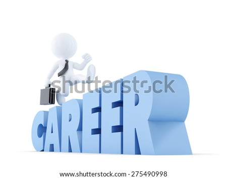 Businessman run over career ladder. Business concept. Isolated over white. Contains clipping path
