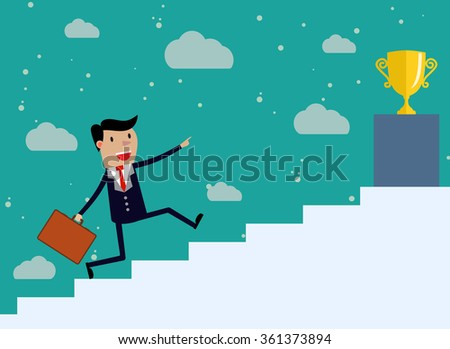 Businessman run Up Stairs, Concept Business Man Win Price. illustration in flat design on green backgound. Raster version - stock photo