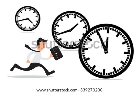 Businessman running a race against time, time management concept