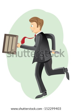 Businessman Running A worried businessman running to office because of getting late. Package contains CMYK AI EPS 10 vector with high resolution JPEG.