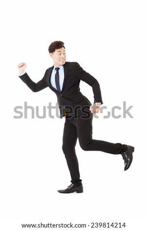 businessman running and looking back