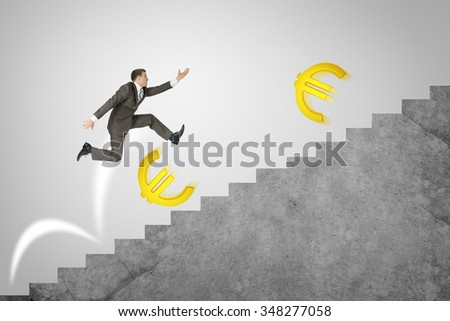 Businessman running fast on abstract background with suitcase