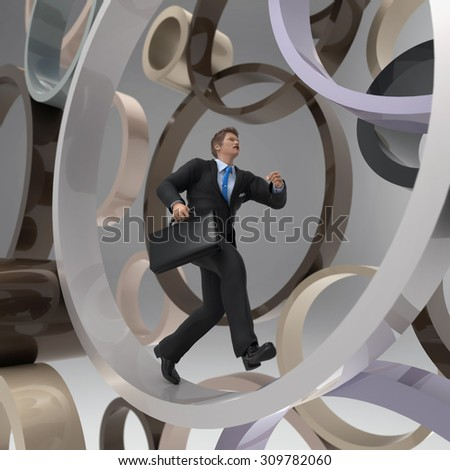 businessman running in the rind