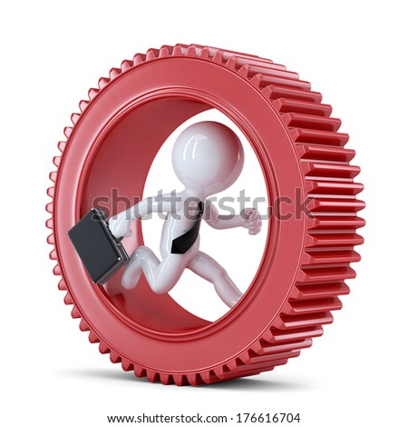Businessman running inside gear. Business metaphor. Isolated on white background - stock photo