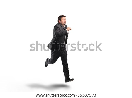 businessman running isolated on a white background