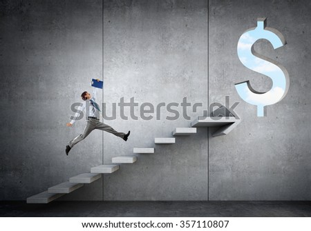 Businessman running on ladder leading to financial success