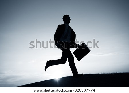 Businessman Running Rush Hour Concept