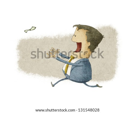 businessman running to catch a dollar - stock photo