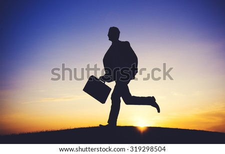 Businessman Running Up Hill Occupation Mission Aim Concept - stock photo
