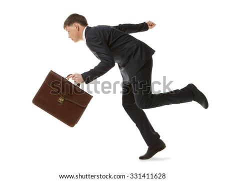 Businessman running with a briefcase. Isolated on white background