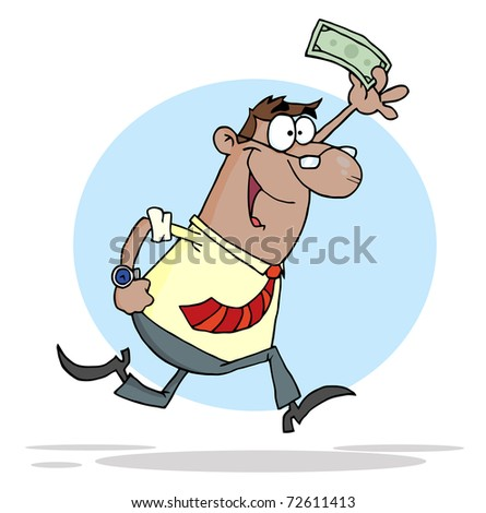 Businessman Running With Dollar In Hand