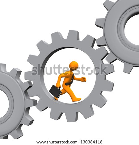 Businessman runs in the grey gear. White background.
