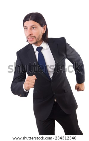 Businessman rushing isolated on the white background