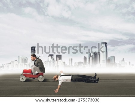 Businessman ruthless and pissed invests a colleague - stock photo