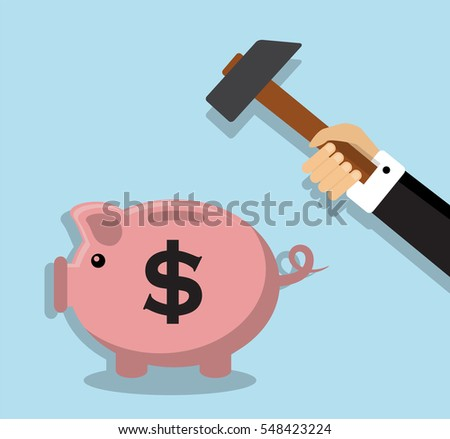 businessman's hand holding a hammer and is preparing to break the piggy bank with coins