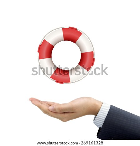 businessman's hand holding a lifebuoy over white background - stock photo
