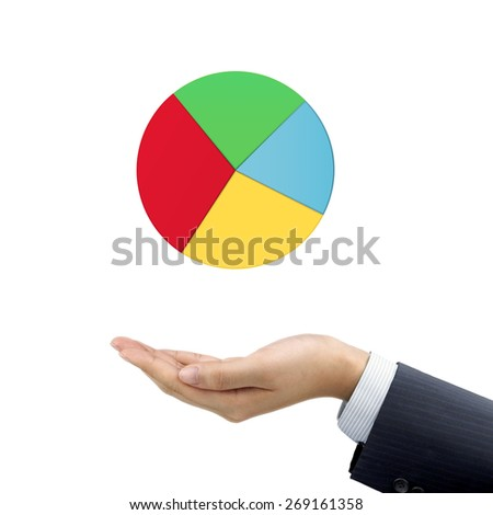 businessman's hand holding business pie chart over white background - stock photo