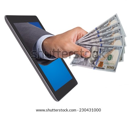 Businessman's hand holding dollar bills while emerging from digital tablet isolated over white background - stock photo