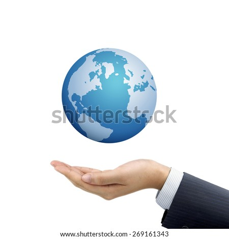 businessman's hand holding globe symbol over white background