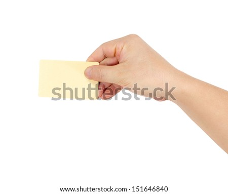 Businessman's hand in a golden holding blank paper business card, closeup isolated over white background