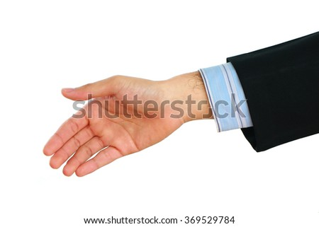 Businessman's hand on white background.