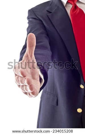 Businessman's Hand Reaching Out To Close A Deal On White Background - stock photo