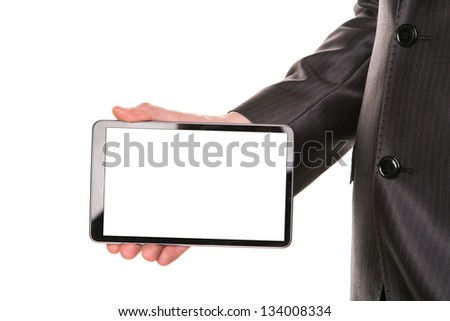 Businessman's hand showing a tablet pc comuter with blank screen for your sample text isolated on white - stock photo